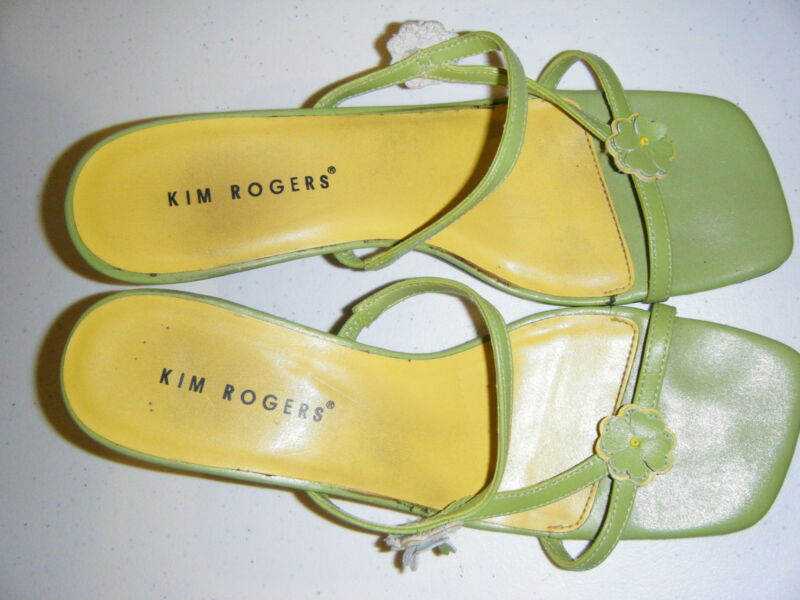 KIM ROGERS GREEN SLIDE WITH YELLOW FLOWER ACCENT 7.5M 2.5 INCH HEEL
