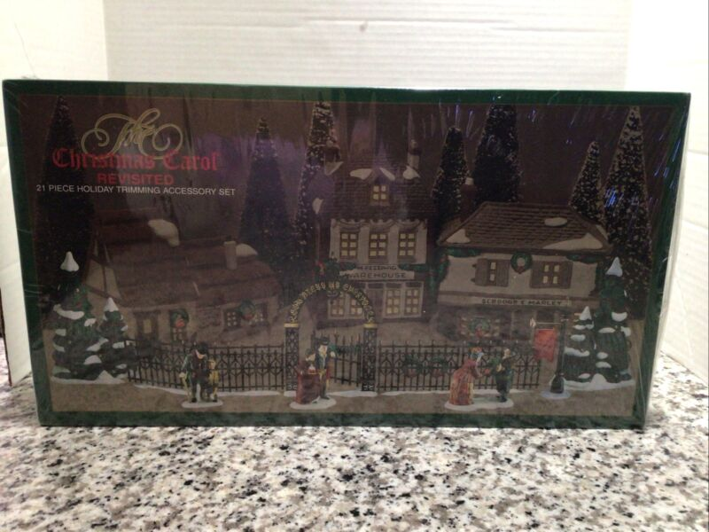 Dept. 56 The Christmas Carol Revisited 21 Pc Holiday Trimming Set Factory