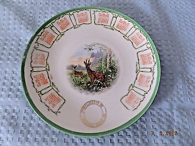 Malden China Co. 1911 Calendar Plate Complimentary Plate Deer in Meadow
