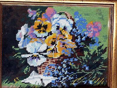 Framed vintage wool tapestry of flowers