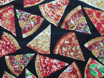 Cotton Food (Pizza Slices Snacks Food Cotton Fabric FQ )