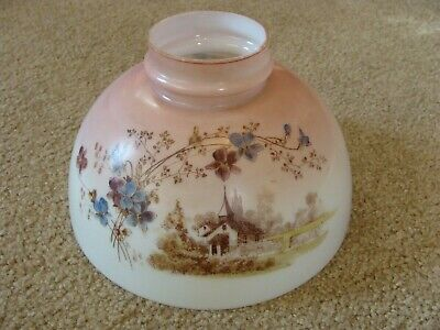 """Antique Hand Painted Victorian Glass Lamp Shade 10"""" Gone With The Wind w Church"""