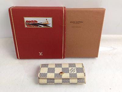 Auth Louis Vuitton Damier Azur Multicles4 key holder PVC Men With Box 6F010220S