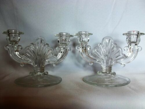 Set/2 Art Deco Ornate Vintage Double Arm Candelabra Candle Holders
