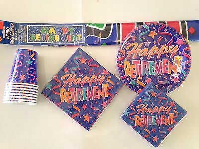 Happy Retirement Party Supplies - 8 people Plates, Napkins, Cups & Banner