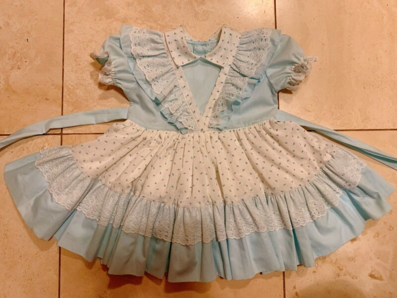 Vintage toddler girls floral print blue ruffle lace party dress