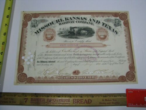 Missouri Kansas & Texas Railway Company Stock Certificate - Issued to Jay Gould