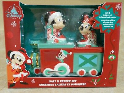 NIB Disney Christmas Holidays Mickey Minnie Salt Pepper Shaker Set w/Train Caddy