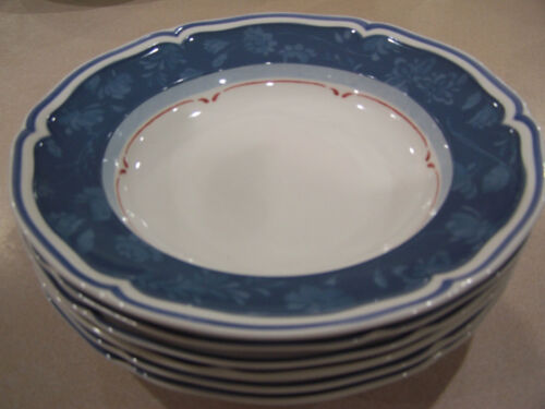 4 Villeroy & Boch Cottage blue  Rimmed soup bowls germany