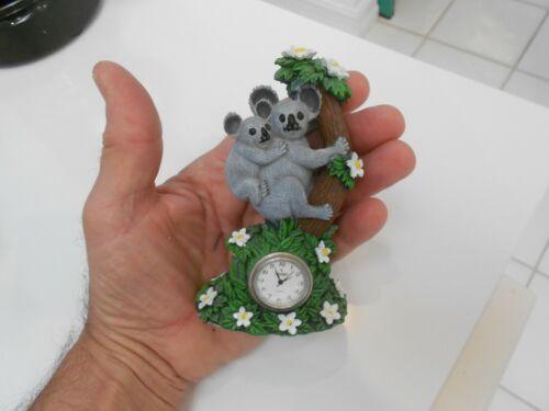 "koala bears in tree  with clock figurine 4 1/4"" tall vg++ condition"