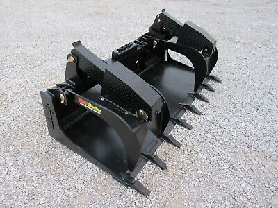 80 Severe Duty Solid Bottom Bucket Grapple With Teeth Fits Skid Steer Loader