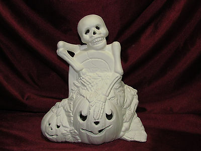 Ceramic Bisque Skeleton with Pumpkin Gravestone Cut Out U Paint Halloween