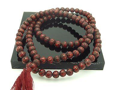 Vintage Red Coral Handcarved Om Nepal Buddhist Meditation 108 Prayer Mala Beads