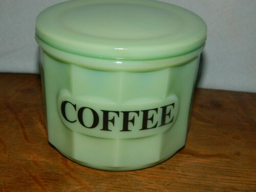 Coffee Canister Round Small Jade Jadeite Style Canister Jar w/Lid
