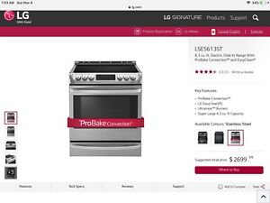 "*New* ""LG Pro Bake"" Slide in Stove/Range Stainless (2Weeks Old)"