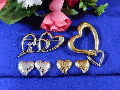 (Vintage Heart Jewelry Collection Brooches Earrings Silver Gold Tone Rhinestone)