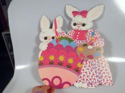 "Vintage Dennison Easter Bunny Painting Egg Die Cut Cardboard Decoration Rare 14"""