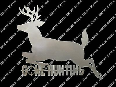 Gone Hunting Deer Buck Man Cave Wall Sign Metal Cabin Lodge Decor Christmas Gift