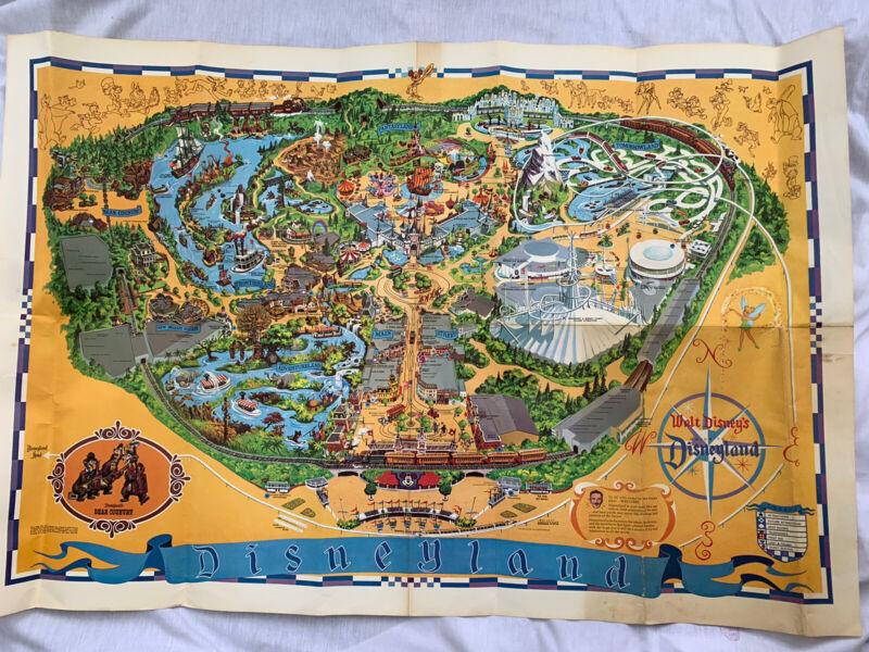 1968 Disneyland Theme Park Guide Map Souvenir Poster Vintage Magic Kingdom