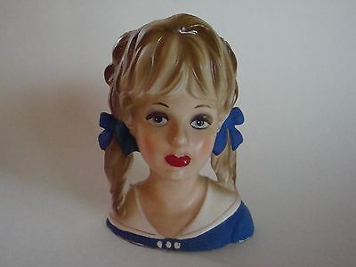 """Vintage Teen Lady Headvase - 5 1/2"""" - Great Hair with Bows - Nice Vase!!"""