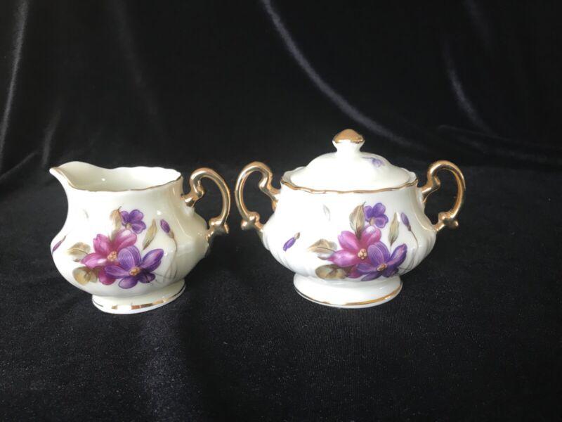 Vintage Royal Sealy China Mini Creamer and Sugar Bowl Set Handpainted Violets