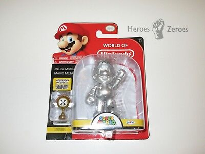Jakks Pacific World Of Nintendo Series 2 7 Metal Mario With Trophy 4 5  Fig Nib