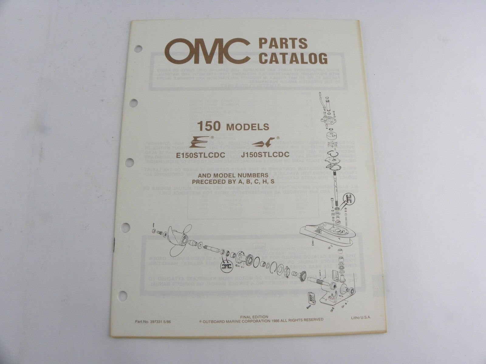 Evinrude Johnson 150 Models Outboard Motor Parts Catalog Manual 1986 OMC