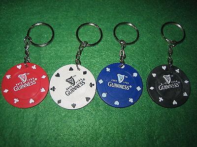FOUR GUINNESS POKER CHIP KEY RINGS