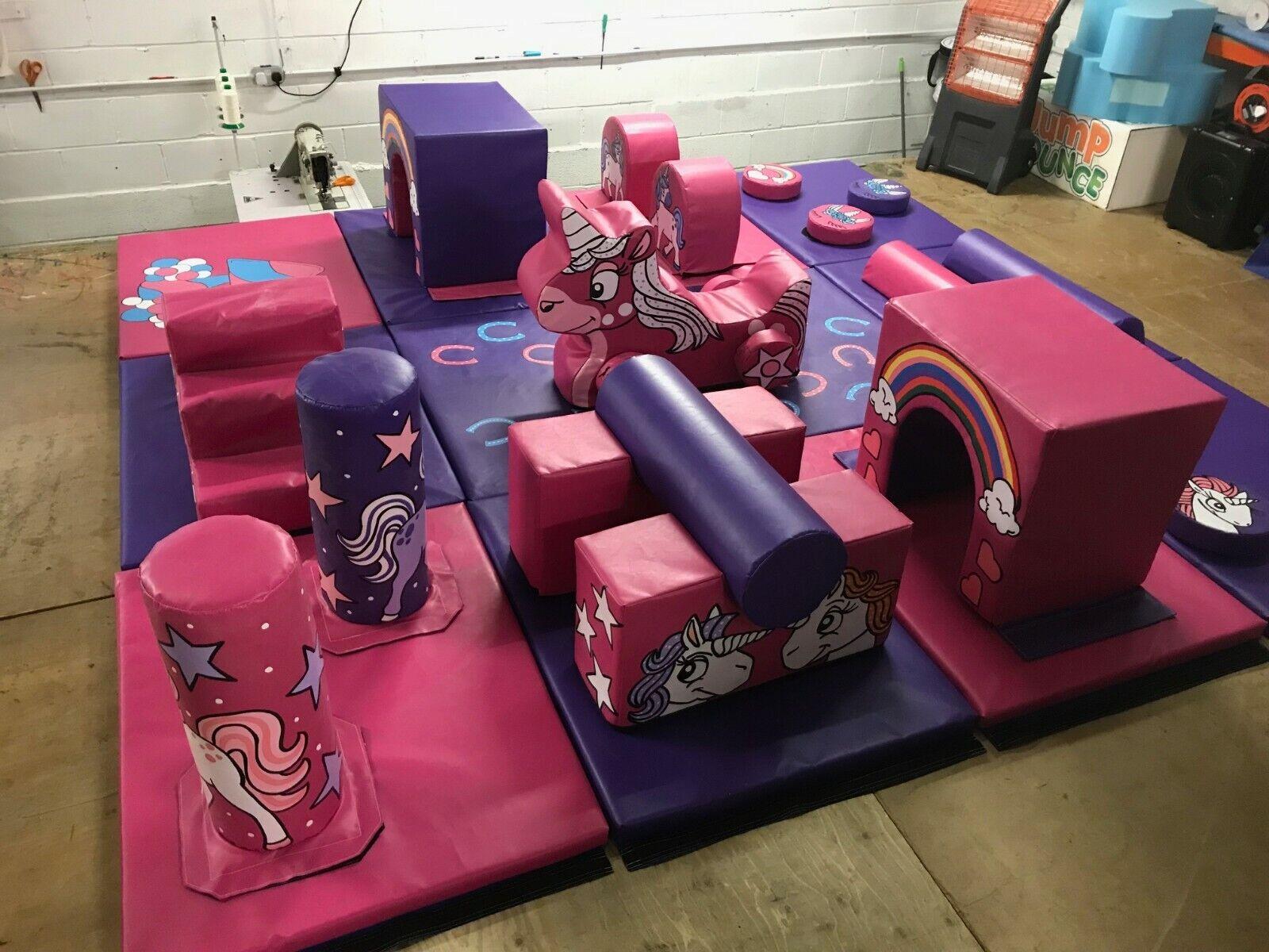 UNICORN 12 Mat set Soft Play Multy Activity Tunnels  Steps Logs Unicorn car