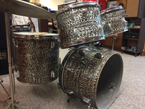 Vintage 1960s Rogers Drums Black Onyx Pearl  w/Extra Matching Slingerland Tom