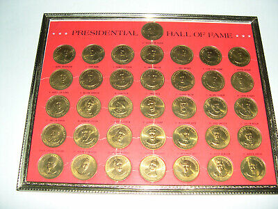 1968 Franklin Mint Presidential Hall of Fame 36 Brass Coins Framed