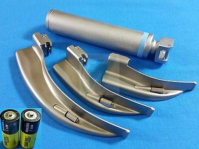 3 Laryngoscope Macintosh Mac Blades 1 2 4 Medium Handlebatteries Emt Set
