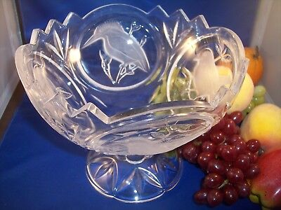 Cut Crystal Large Centerpiece Bowl with Pedestal Bird Design
