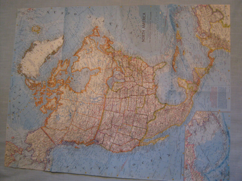 VINTAGE NORTH AMERICA MAP National Geographic April 1964 XLNT