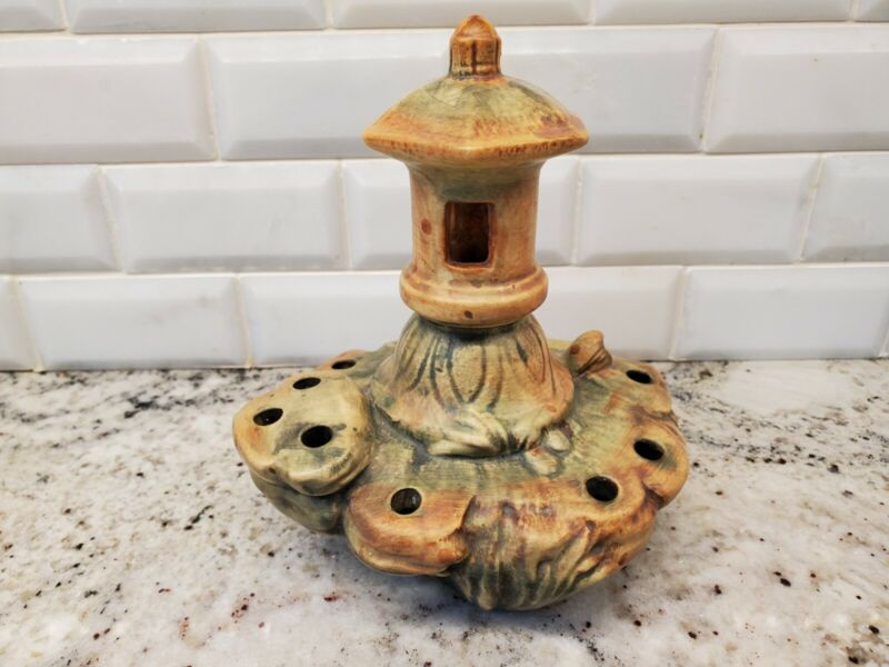 Depression Era Vintage Weller Art Pottery Flower Frog of a Pagoda