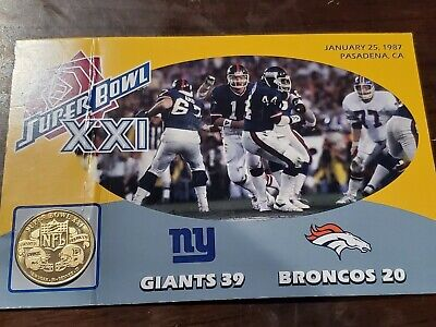 NEW YORK GIANTS  NFL Super Bowl XXI Commemorative Flip Coin  2010 Danbury Mint  Super Bowl Xxi
