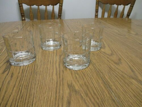 Anchor Hocking Tartan Manchester Clear Glass Lowball Whiskey Tumblers Set of 4