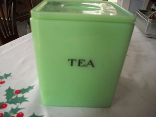 Vintage Fire King Jadeite Tea Canister with Lid