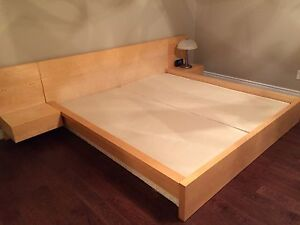 Ikea malm king bed with night tables and 2 spring boxes