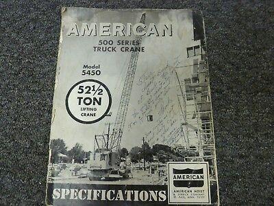 American Model 5450 Lifting Crane 52 12 Ton Shop Service Specifications Manual