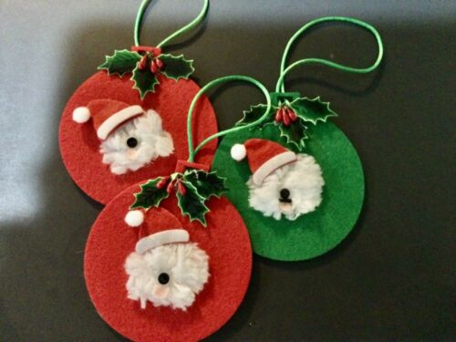 """3 hand crafted Old English sheepdog """"  hand crafted ornaments"""