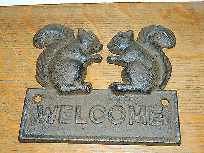 Cast Iron SQUIRREL WELCOME Plaque Sign Rustic Garden Wall Decor