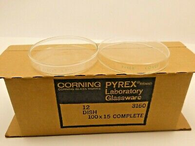 Nos Lot Of 12 Vintage Corning Pyrex Glass Petri Dishes Laboratory Glassware 4 D