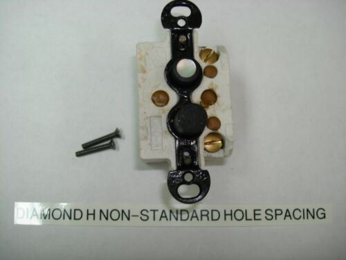 Vintage Push Button Single Pole Light Switch Diamond H Non-Standard Hole Spacing