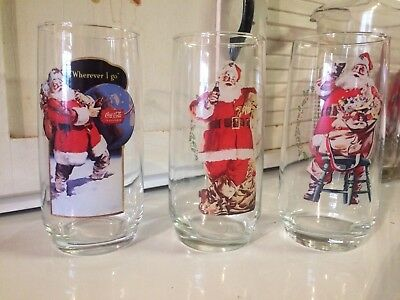 Vintage Coca-Cola Santa Claus Glasses Complete Set Series 2, /  1,2 and 3 of 3