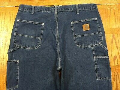 CARHARTT FLANEL LINED CARPENTER WORK PANTS JEANS SZ 38x34 Tag 40x34 BEST S23