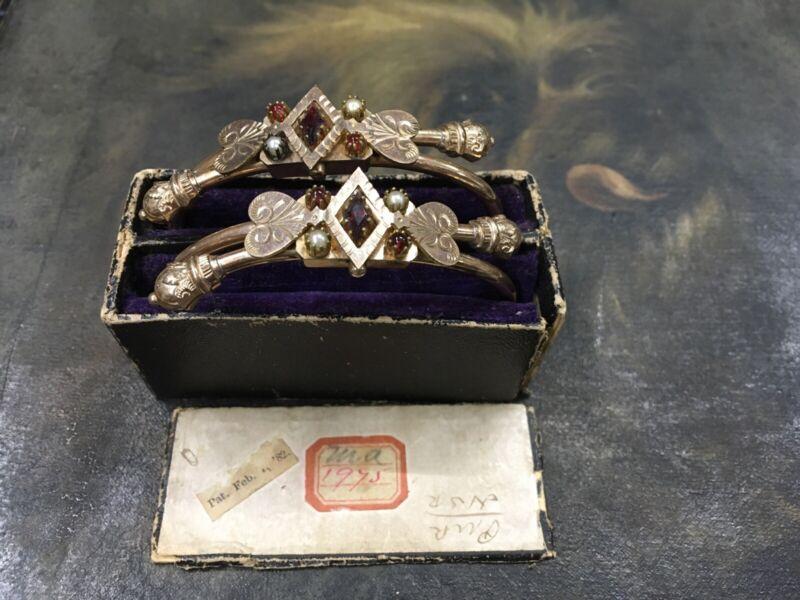 ANTIQUE VICTORIAN DOUBLE WEDDING BRACELET SET ORIG. BOX DATED 1882 GARNETS GF