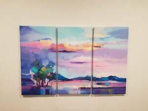 Purple Abstract Landscape - Colour Framed Treble Canvas Print