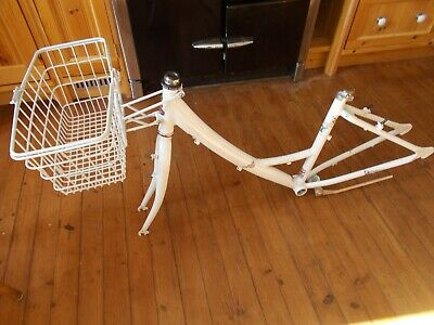 "Raleigh Caprice  Aluminium Bicycle Frame & Fork Set White 16"" / 41 cm & Basket"