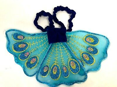 Butterfly fairy costume wings child or small teen blue w/ slip on elastic arms